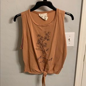 French Pastry Tie Front Cropped Tank Top